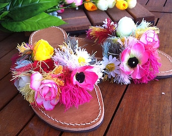 "Greek Leather sandals with flowers/ flip flops / handcrafted  sandals /embellished leather sandals /handmade stylish sandals ""Anthi"""""