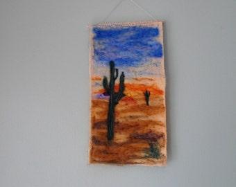 Needle felted art, desert scene, upcycled art, fibre art, wall hanging, felt picture, Arizona desert