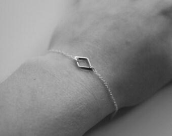 Sterling Silver Rhombus Geometric Bracelet
