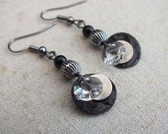 Black and silver circle earrings, Swarovski rivoli earrings