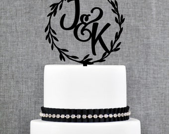 Rustic Laurel Cake Topper, Personalized Initials Cake Topper, Elegant Custom Cake Topper (T321)