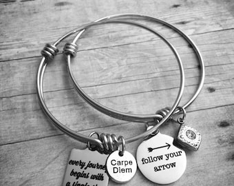 Follow Your Arrow/Every Journey Begins wwith a Single Step Stainless Steel Charm Bangle Set