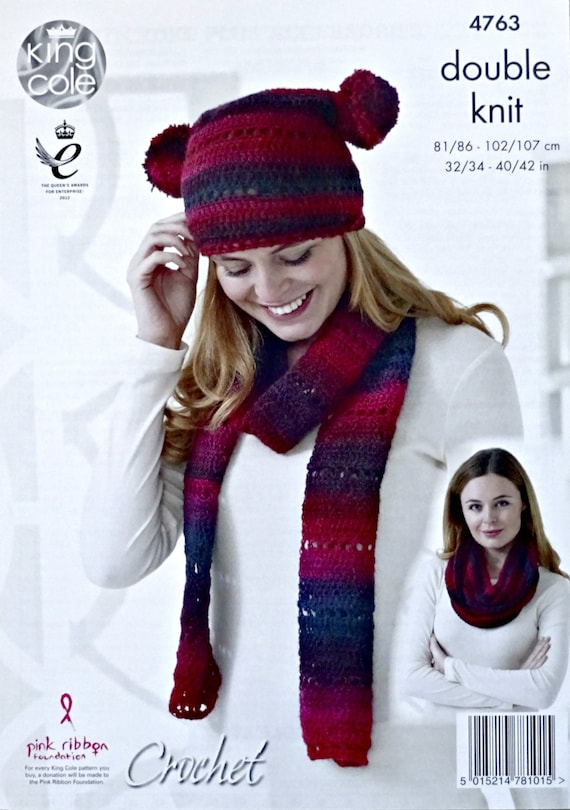 Womens Crochet Pattern C4763 Ladies Teabag Hat Scarf and