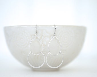 Matte Silver Double Layer Simple Teardrop Earrings
