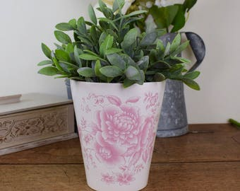 Pink planter or plant pot, floral design ceramic