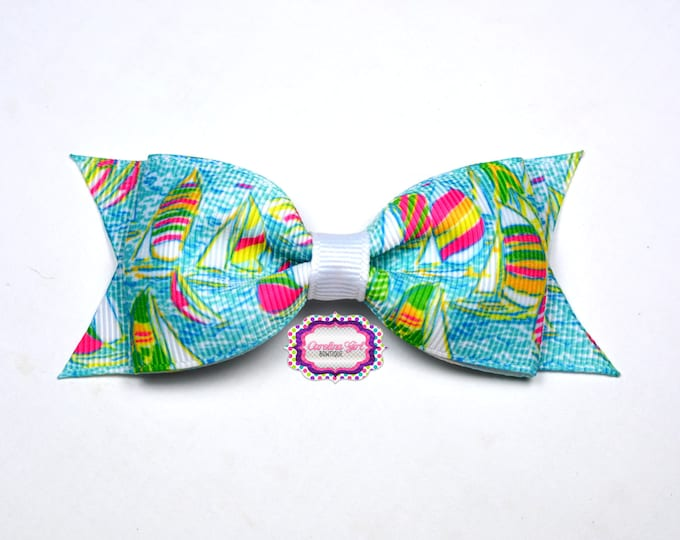 """Lilly Pilitzer Hair Bow ~ You Gotta Regatta ~ 3.5"""" Hairbow ~ Lilly Inspired ~ Girls Barrette ~ Toddler Bow ~ Hair Clip ~ Girls Hair Bow"""