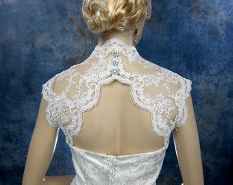 Sleeveless bridal shrug lace bolero jacket wedding bolero - keyhole back - available in white and ivory