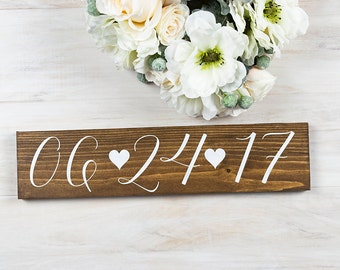 Engagement Gift- Rustic Wedding Decor- Bridal Shower Decor- Wedding Date Sign- Save the Date Sign- Gift for Bride- Anniversary Gift