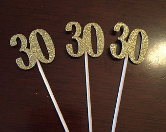 "12 ""30"" cupcake toppers, birthday, anniversary decorations."