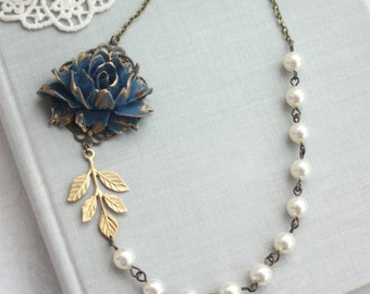 Blue Rose Flower Necklace, Navy Blue and Gold Wedding, Flower and Pearl Necklace Something Blue, Navy and Gold Wedding, Navy Blue Wedding