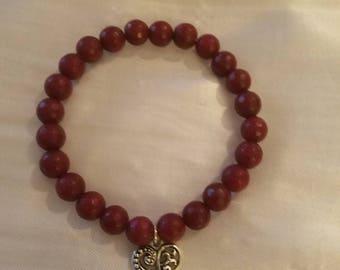 Red jade beaded valentine bracelet