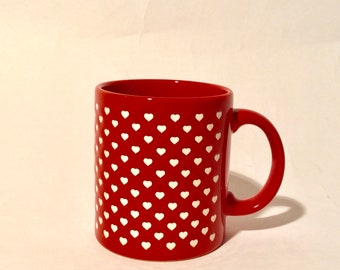 Vintage 1980s Waechtersbach Germany Mini Hearts Red Ceramic Mug/Super Collectible and Flawless