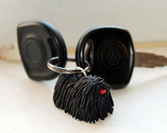 Black puli keychain, puli dog key ring