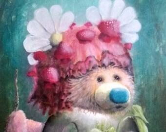 Surreal Bear Print - Art Prints hummingbird  - terrarium  - Blue - Pink - camping -  nature -  hiking - travel - pop surrealism - cute