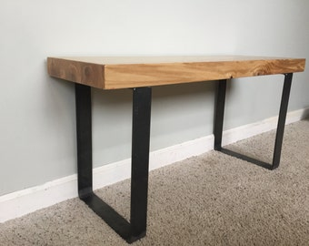Wooden Blonde Entryway Bench With Black Wrought Iron Legs