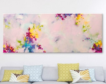Large painting Abstract Painting Original art Acrylic on canvas Contemporary Art Abstract wall art Modern Artwork Pink Painting Yellow