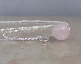 Rose Quartz Drop Necklace, Pink Crystal Necklace, Rose Quartz Pendant, Sterling Silver, Pink Necklace, Simple Necklace, Natural Gemstone