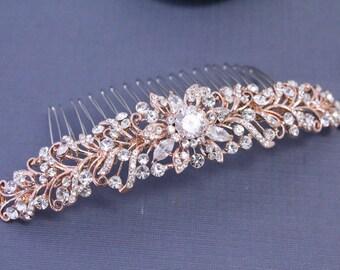 Bridal hair comb rose gold Wedding hair comb Rose gold Hair comb Wedding comb Bridal hair accessories Wedding accessories Bridal comb rose