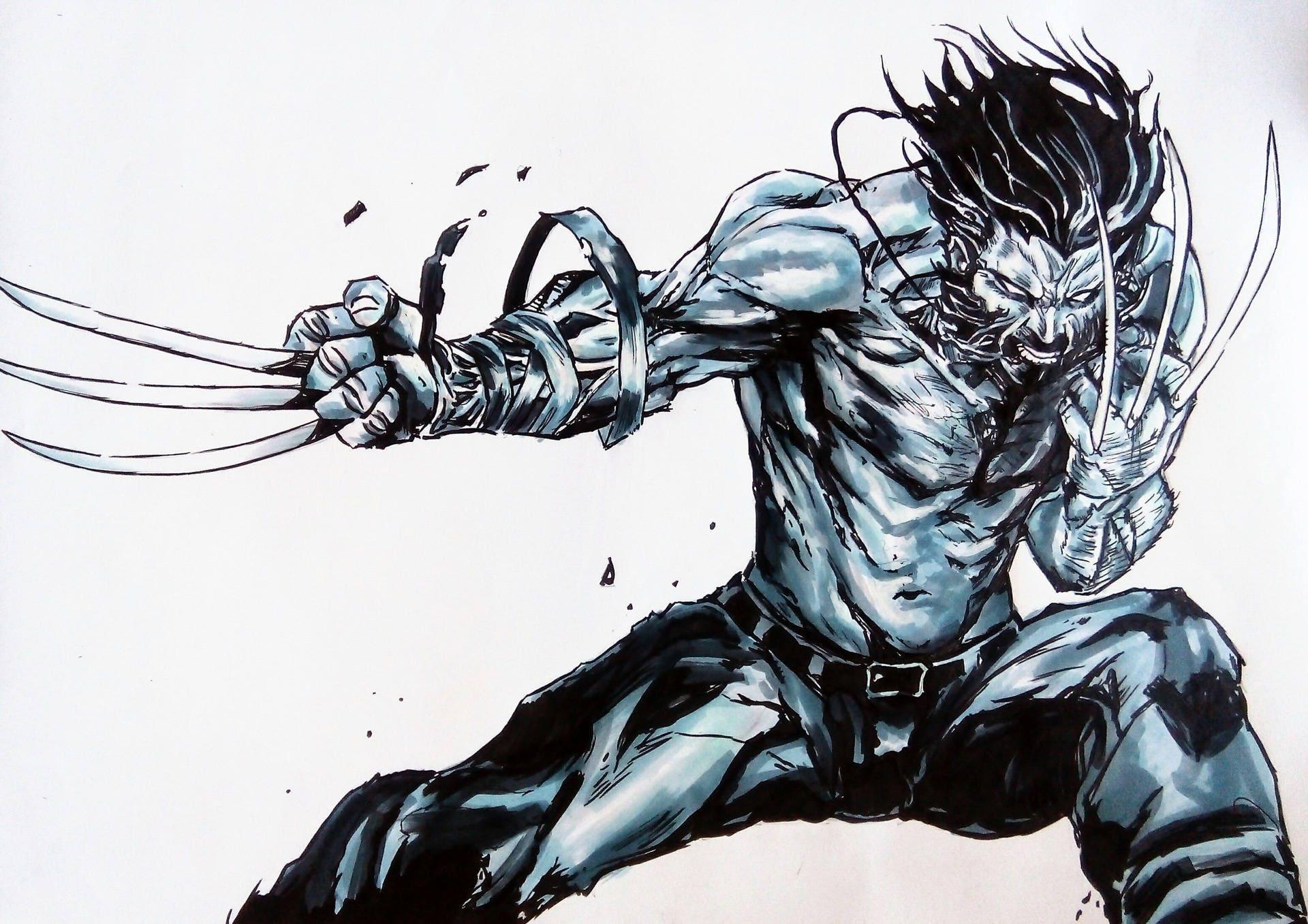 Wolverine old man logan dessin aux feutres plus encre sur - Wolverine dessin ...