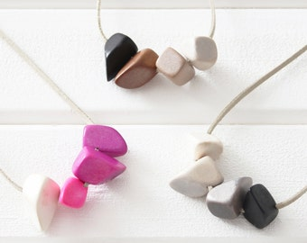 OMBRE POLYGON NECKLACE Eco-Friendly Wooden Geometric Nuggets Beads Soft Faux Suede Grey Pink Brown Blue-Green Colours Hypoallergenic Vegan
