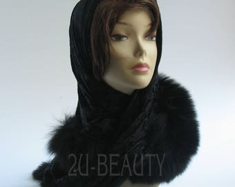 Gift-For-Her-Scarves & Wraps- Hooded Scarves-Black Hooded Scarf -Christmas Gift-Gift for women-Oversized Scarf-Hair Accessories-Wife Gift.