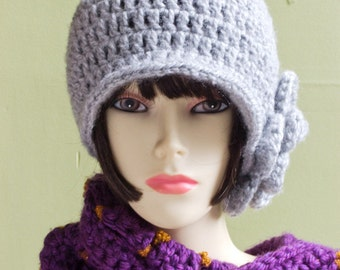 Crochet Pui Hat, Vintage Style in Silver Gray
