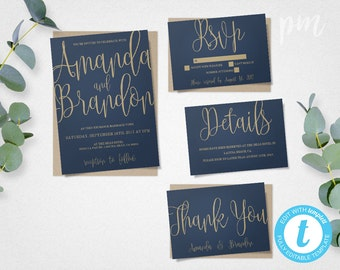 Blue & Gold Wedding Invitation Template Suite, Navy Calligraphy Script Printable Invitation, Instant Download DIY Wedding Invitations