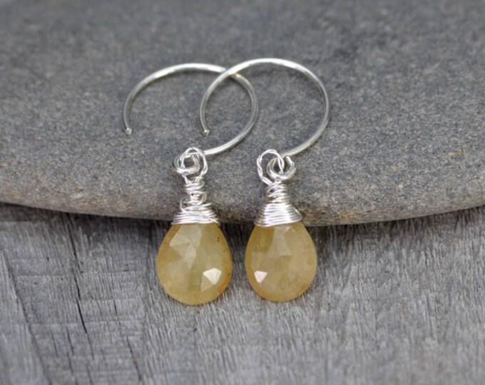 Yellow Sapphire Earrings, September Birthstone, Sapphire Gift Handmade In The UK