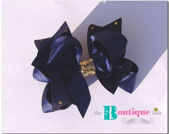The Boutique Kids---Photo prop---Christmas Holiday Navy blue gold polka hair bow clip