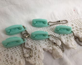 Vintage Aqua Princess Telephone Key Chain 60's