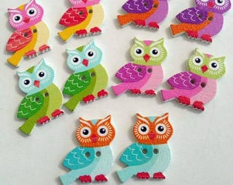 10 Owls Wooden Buttons #EB68