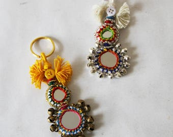 SALE - Small Boho Keyring - Embellished Small Bohemian Mirror Keyrings in Gold or Silver Metal - Boho Chic