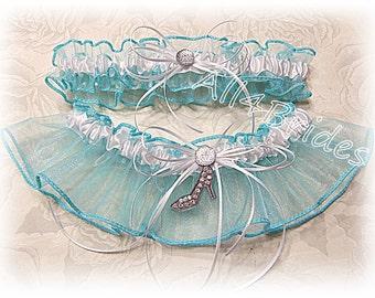 Wedding Garters, Cinderella Slipper Bridal Keepsake and Toss Leg Garter Belt Set, Something Blue