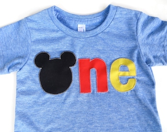 Mouse Ears Mouse Birthday Shirt for Family Vacation Black Red Yellow