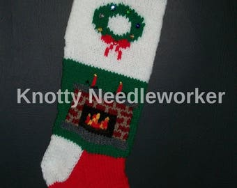 PDF Instructions+Chart 2 in 1 AROUND The FIRE Hand Knitted Christmas Stocking Pattern