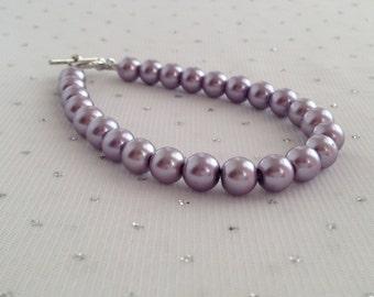 Purple Pearl Bracelet, Purple Pearl Jewelry, Purple Bridesmaid Jewelry, Purple Beaded Jewelry, Bridal Jewelry, Bridesmaid Gift Ideas