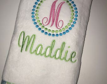 Tennis Gift Towel Personalized Initial Lilly Inspired Pink and Green