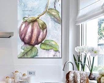 Modern Botanical Art Print, Kitchen Art, Blue White Gray Kitchen Home Decor, Large Watercolor Nature Italian Eggplant, Recipe Art Print