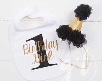 First Birthday Bib & Party Hat, Black and Gold Princess Hat, First Birthday Set