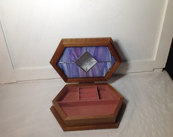 Handcrafted stained glass jewelry box
