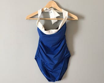 cobalt blue one piece swimsuit | white foldover halter straps maillot