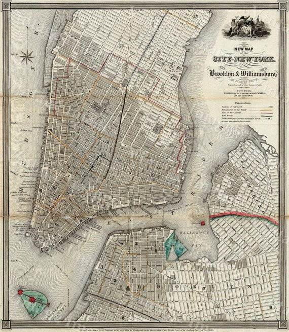 new york map 1840 old map of new york city vintage manhattan