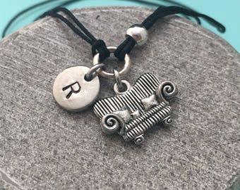Couch cord bracelet, cord charm bracelet, adjustable bracelet, charm bracelet, personalized bracelet, initial, monogram