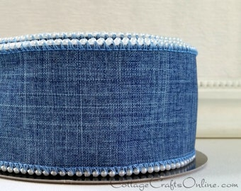 """Wired Ribbon, 2 1/2"""" Denim Blue Linen Style, Pearl Beaded Edge, TEN YARD ROLL, d. stevens """"Pearly Bead"""" Wire Edged Ribbon"""