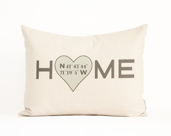 Home Coordinates Pillow, Personalized Housewarming Gift, Realtor Closing Gift, Home Pillow, Custom Pillow