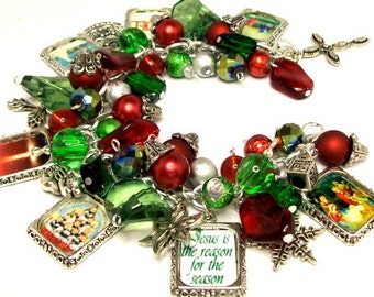 Christian Christmas Charm Bracelet Jewelry, Picture Charm Bracelet, Red Green White, Altered Art Charm Bracelet, Photo Charms, Silver Plated
