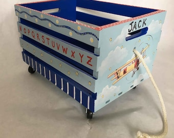 airplane crate toy box, book storage, hand painted toy box, kids crate toy storage, baby gifts, kids painted furniture