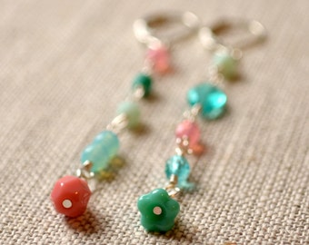 Coral Pink and Aqua Earrings, Mismatched, Czech Glass Beads, Mint Green Turquoise, Unmatched, Asymmetrical, Silver Plated, Bead Jewelry