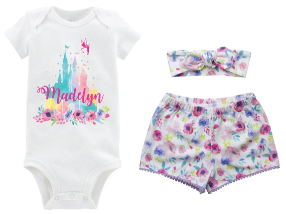 Cinderella Castle Personalized Outfit Shorts Headband Watercolor Floral Cinderella Castle Monogram Summer Shorts Pom Pom Shorts Outfit