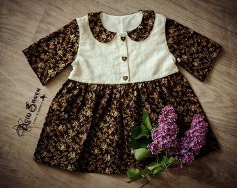 Retro girl dress, girl dress, cotton dress